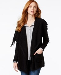 G.H. Bass And Co. Open Front Draped Collar Cardigan Black