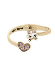 Betsey Johnson Cat And Pave Heart Bypass Crystal Hinged Bangle Bracelet Gold