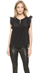 Madison Marcus Belle Ruffle Sleeve Top Jet Black