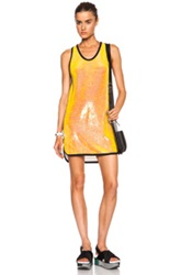 Msgm Sequin Dress With Contrast Trim In Yellow Metallics