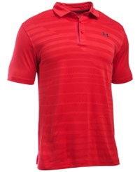 Under Armour Men's Coolswitch Pieced Striped Performance Polo Red