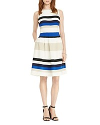 Ralph Lauren Striped Fit And Flare Dress Colorblock