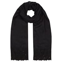 Jacques Vert Lace Cluster Stone Scarf Black