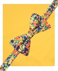 Countess Mara Floral Pre Tied Bow Tie And Pocket Square Set Yellow