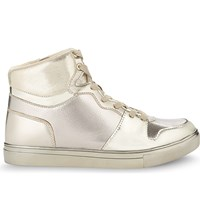 Aldo Ilane Metallic High Top Trainers Gold