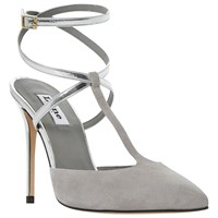 Dune Chloey Two Part Cross Strap Court Shoes Grey Suede