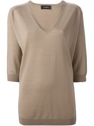 Cividini V Neck Sweater Nude And Neutrals