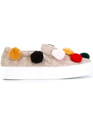 Joshua Sanders Pompom Application Slippers Nude And Neutrals