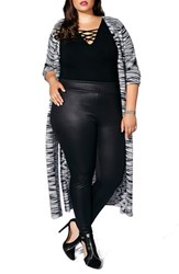 Mblm By Tess Holliday Plus Size Women's Side Slit Long Cardigan Medium Grey Mix