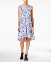 Alfani Printed Trapeze Dress Only At Macy's Blue Printed