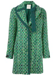 Marco De Vincenzo Tweed Coat Green