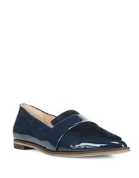 Dr. Scholl's Ashah Patent Leather And Suede Flats Navy Blue