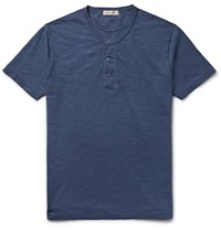 Alex Mill Cotton Jersey Henley T Shirt Blue