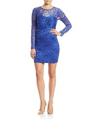 Guess Lace Overlay Sheath Dress Cobalt