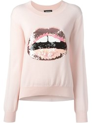 Markus Lupfer Sequinned Lips Applique Sweater Pink And Purple