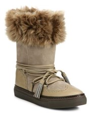 Brunello Cucinelli Suede And Shearling Brogue Moon Boots Bark