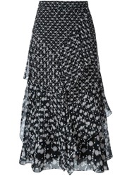 Peter Pilotto Floral Print Draped Skirt Black