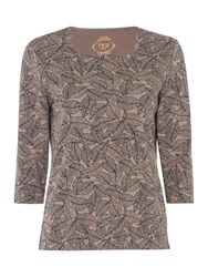 Tigi Leaf Print Square Neck Top Brown