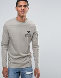 Asos Mickey Mouse Long Sleeve T Shirt Beige