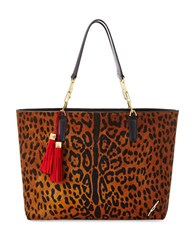 Brian Atwood Aellie Leopard Print Calf Hair And Leather Tote