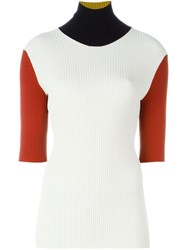 Petar Petrov Colour Block Ribbed Sweater White