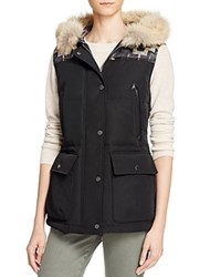 Pendleton Pueblo Fur Trim And Jacquard Detail Vest Black