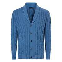 Aquascutum London Oakham Cable Knit Cardigan Blue