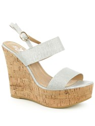 Daniel Wirral Shimmer High Cork Wedge Sandals Silver Metallic