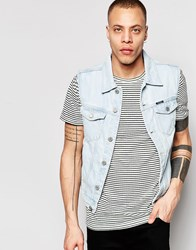 Pull And Bear Sleeveless Denim Jacket In Bleach Wash Light Blue
