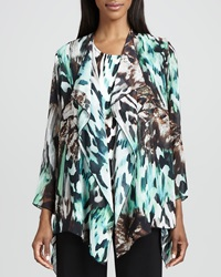 Caroline Rose Urban Animal Print Draped Jacket Petite