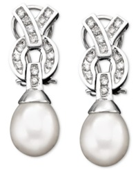 Macy's 14K White Gold Cultured Freshwater Pearl And Diamond 3 8 Ct. T.W. Earrings