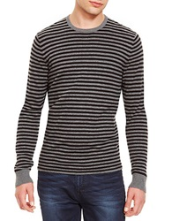 Kenneth Cole Striped Crew Neck Pullover Grey