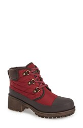Women's Lucky Brand 'Akonn' Weather Resistant Lace Up Rain Boot Ruby Wine Fabric