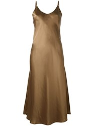 Helmut Lang Ruffle Detail Midi Dress Brown