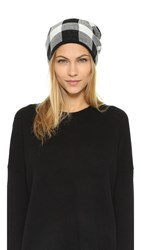 Plush Plaid Beanie White Black