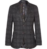 Etro Grey Slim Fit Check Alpaca Silk Cotton And Wool Blend Blazer Gray