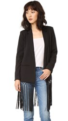 Bb Dakota Aldred Fringe Blazer Black
