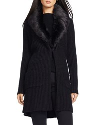Lauren Ralph Lauren Faux Fur Shawl Cardigan Black