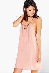 Boohoo Lace Up Strappy Swing Dress Nude