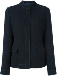 Armani Collezioni Textured Fitted Jacket Blue