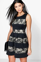 Boohoo Contrast Lace Skater Dress Black