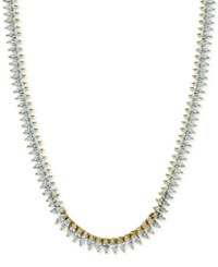 Giani Bernini Cubic Zirconia Marquise Collar Necklace In Sterling Silver Only At Macy's Yellow Gold
