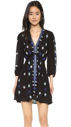 Free People Star Gazer Embroidered Dress Black Combo