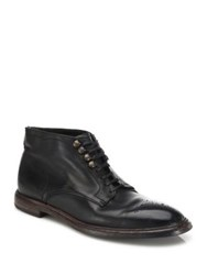 Dolce And Gabbana Perforated Leather Chukka Boots Black