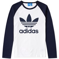 Adidas Original Trefoil Long Sleeve Tee White
