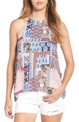 Elodie Women's Woven High Neck Tank Navy Red