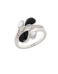 Lord And Taylor Onyx Opal Diamond And Sterling Silver Ring