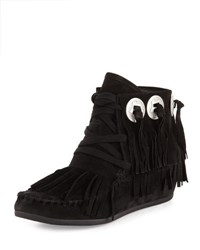 Ash Shadow Suede Fringe Moccasin Bootie Brown