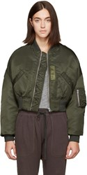 R 13 Green Cropped Flight Bomber Jacket