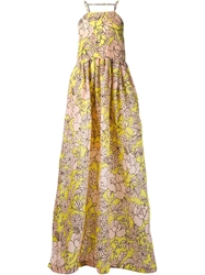 Msgm Floral Print Long Flared Dress